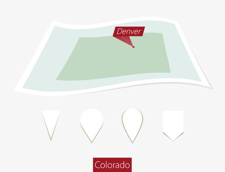 Curved paper map of Colorado state with capital Denver on Gray Background. Four different Map pin set. Vector Illustration.