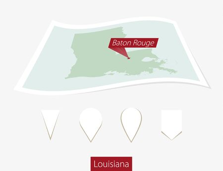 baton rouge: Curved paper map of Louisiana state with capital Baton Rouge on Gray Background. Four different Map pin set. Vector Illustration.