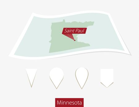 paul: Curved paper map of Minnesota state with capital Saint Paul on Gray Background. Four different Map pin set. Vector Illustration.