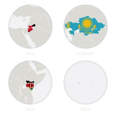 Jordan, Kazakhstan, Kenya, Kiribati map contour and national flag in a circle. Vector Illustration.