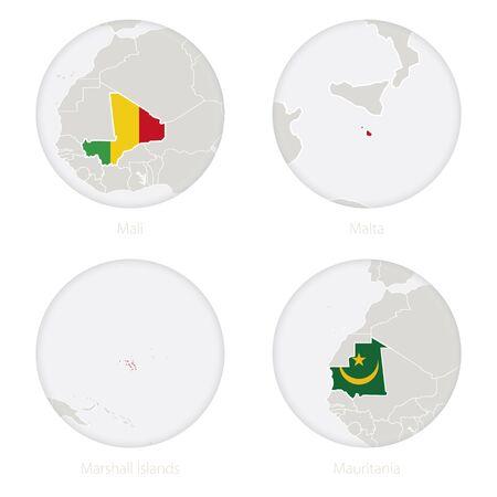 map malta: Mali, Malta, Marshall Islands, Mauritania map contour and national flag in a circle. Vector Illustration.