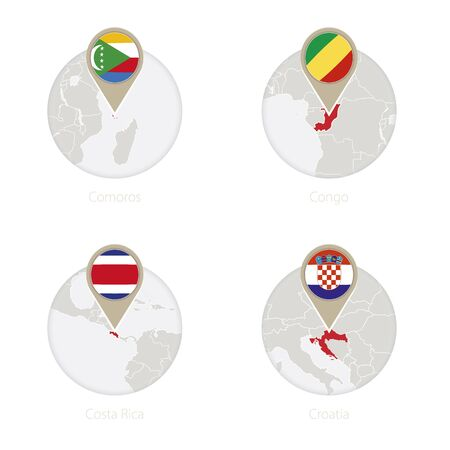 Comoros, Congo, Costa Rica, Croatia map and flag in circle. Vector Illustration. Illustration