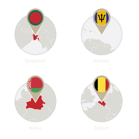 Bangladesh, Barbados, Belarus, Belgium map and flag in circle. Vector Illustration. Illustration