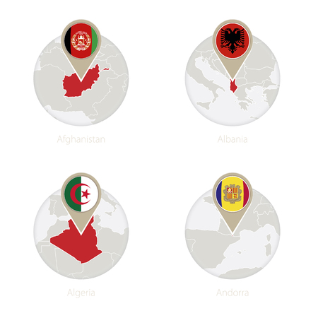 Afghanistan, Albania, Algeria, Andorra map and flag in circle. Map of Afghanistan, Albania, Algeria, Andorra in the style of the globe. Vector Illustration.