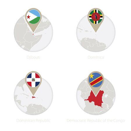 Djibouti, Dominica, Dominican Republic, Democratic Republic of the Congo map and flag in circle. Vector Illustration. Illustration