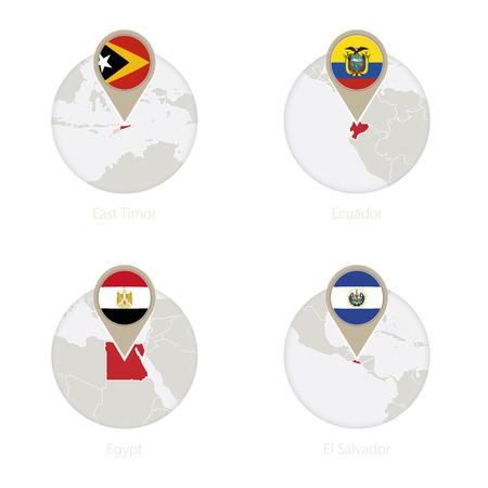 mapa de el salvador: East Timor, Ecuador, Egypt, El Salvador map and flag in circle. Vector Illustration. Vectores