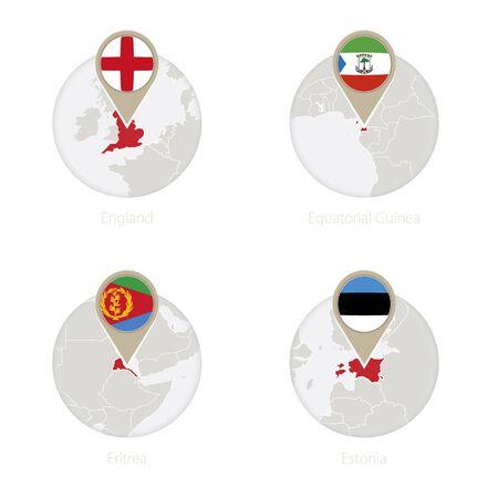 England, Equatorial Guinea, Eritrea, Estonia map and flag in circle. Vector Illustration. Illustration
