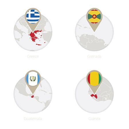 Greece, Grenada, Guatemala, Guinea map and flag in circle. Vector Illustration.