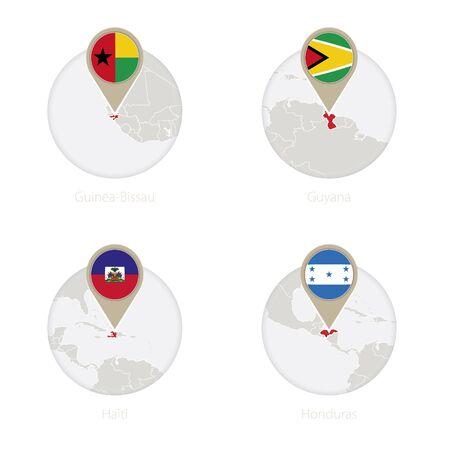 Guinea-Bissau, Guyana, Haiti, Honduras map and flag in circle. Vector Illustration.