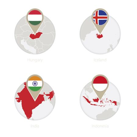 Hungary, Iceland, India, Indonesia map and flag in circle. Vector Illustration. Illustration