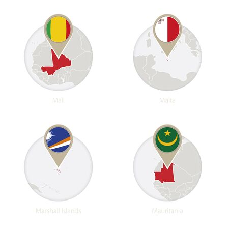 Mali, Malta, Marshall Islands, Mauritania map and flag in circle. Vector Illustration.
