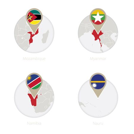 Mozambique, Myanmar, Namibia, Nauru map and flag in circle. Vector Illustration.