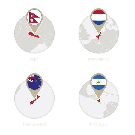 Nepal, Netherlands, New Zealand, Nicaragua map and flag in circle. Vector Illustration.