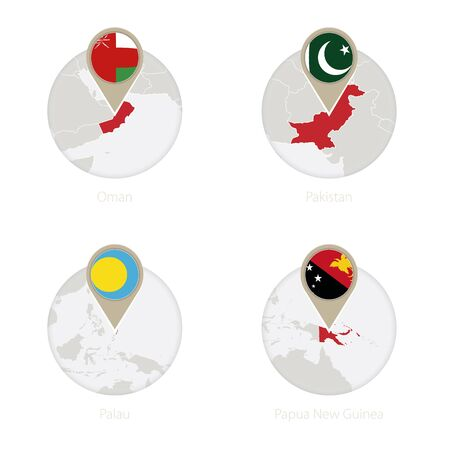 Oman, Pakistan, Palau, Papua New Guinea map and flag in circle. Vector Illustration.