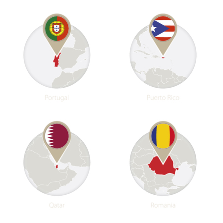 Portugal, Puerto Rico, Qatar, Romania map and flag in circle. Vector Illustration.