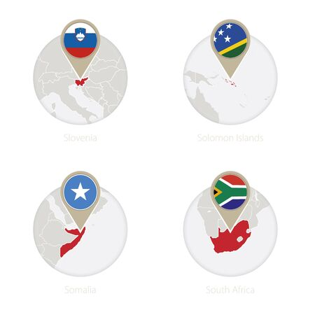 Slovenia, Solomon Islands, Somalia, South Africa map and flag in circle. Vector Illustration.