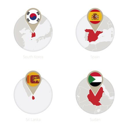 South Korea, Spain, Sri Lanka, Sudan map and flag in circle. Vector Illustration.