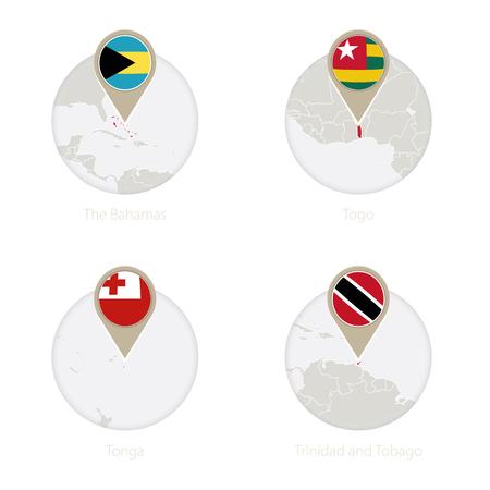 The Bahamas, Togo, Tonga, Trinidad and Tobago map and flag in circle. Vector Illustration. Illustration