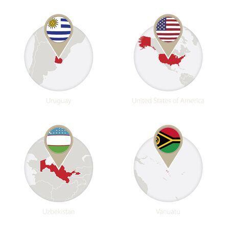 bandera de uruguay: Uruguay, EE.UU., Uzbekistán, Vanuatu mapa y la bandera en círculo. Ilustración del vector.