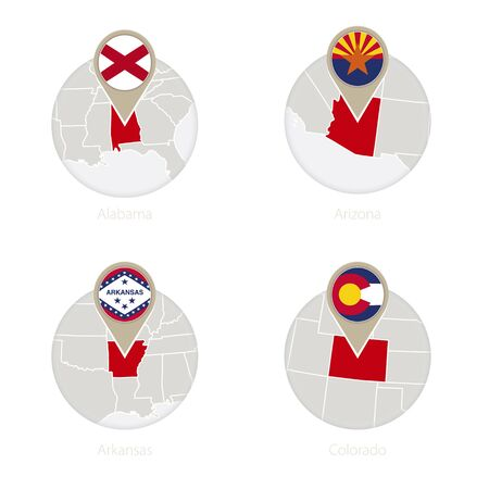US States Alabama, Arizona, Arkansas, Colorado map and flag in circle. Vector Illustration.