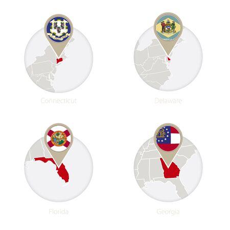 US-Bundesstaat Connecticut, Delaware, Florida, Georgia Karte und Flagge im Kreis. Vektor-Illustration. Vektorgrafik