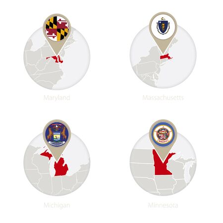maryland flag: US States Maryland, Massachusetts, Michigan, Minnesota map and flag in circle. Vector Illustration.