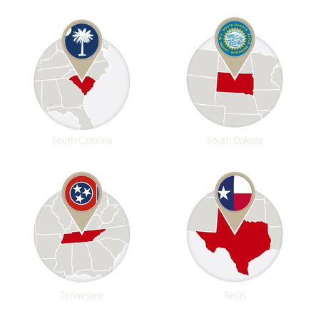 US States South Carolina, South Dakota, Tennessee, Texas map and flag in circle. Vector Illustration.