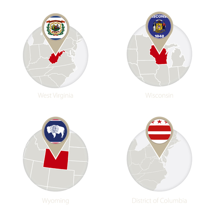 district of columbia: US States West Virginia, Wisconsin, Wyoming, District of Columbia map and flag in circle. Vector Illustration.