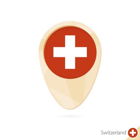 Puntero del mapa con la bandera de Suiza. Icono de mapa abstracto naranja. Ilustración vectorial Vectores