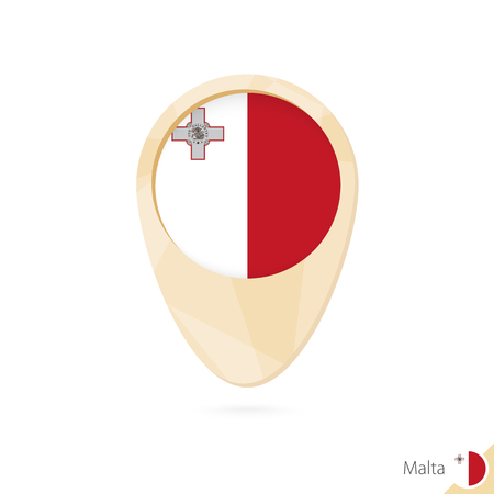 maltese map: Map pointer with flag of Malta. Orange abstract map icon. Vector Illustration.