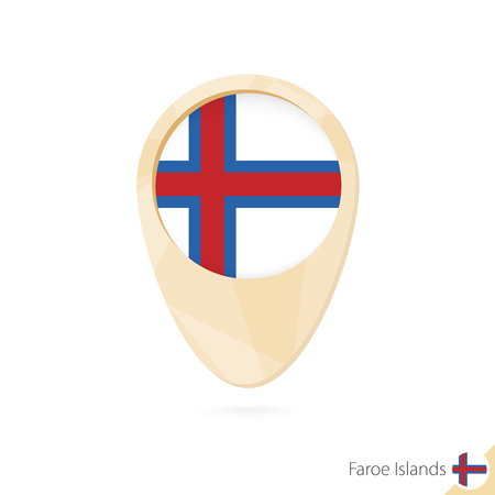 Map pointer with flag of Faroe Islands. Orange abstract map icon. Vector Illustration. Illustration