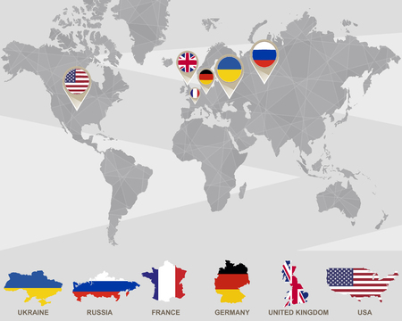 World map with iran usa france uk germany china russia world map with ukraine russia france germany united kingdom usa pointers sciox Gallery