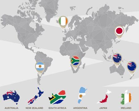 World Map New Zealand And Australia.World Map With Australia New Zealand South Africa Argentina