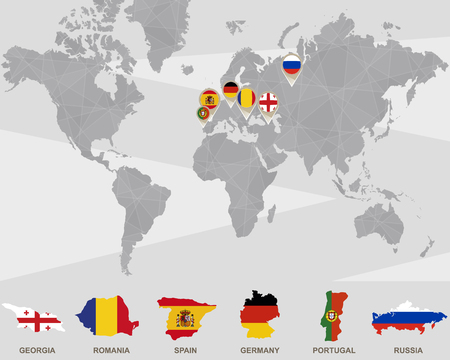 World Map With Georgia, Romania, Spain, Germany, Portugal, Russia ...