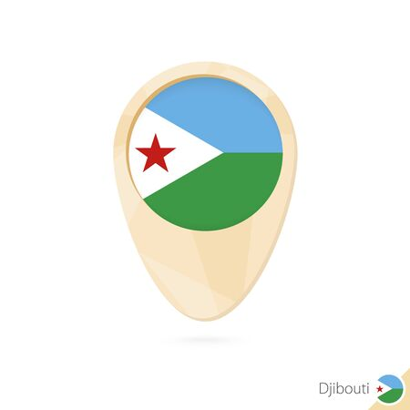 Map pointer with flag of Djibouti. Orange abstract map icon. Vector Illustration.