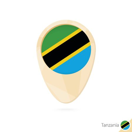 tanzania: Map pointer with flag of Tanzania. Orange abstract map icon. Vector Illustration.