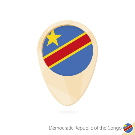 Map pointer with flag of Democratic Republic of the Congo. Orange abstract map icon. Vector Illustration.
