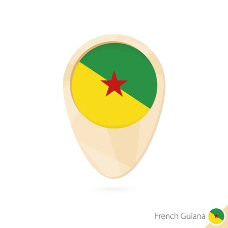 guiana: Map pointer with flag of French Guiana. Orange abstract map icon. Vector Illustration.