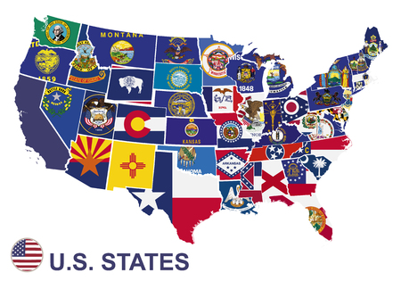 US map with flags of states, on white background