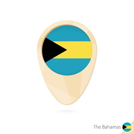 Map pointer with flag of The Bahamas. Orange abstract map icon. Vector Illustration.