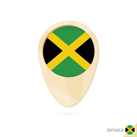 jamaican: Map pointer with flag of Jamaica. Orange abstract map icon. Vector Illustration.
