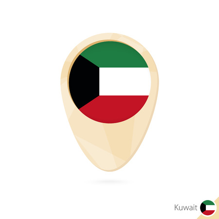 Map pointer with flag of Kuwait. Orange abstract map icon. Vector Illustration. Illustration