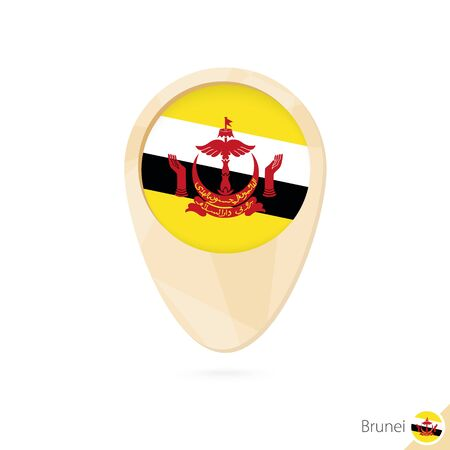 brunei darussalam: Map pointer with flag of Brunei. Orange abstract map icon. Vector Illustration.