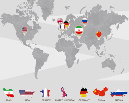 world flag: World map with Iran, USA, France, UK, Germany, China, Russia pointers. Iran sanctions. Vector Illustration.