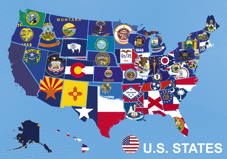 USA map with flags of states, on blue background with Alaska and Hawaii