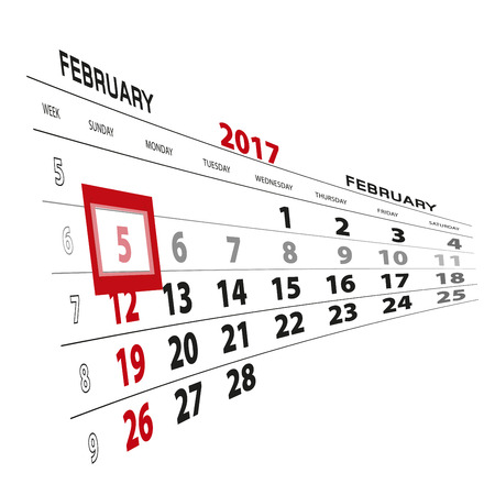 thursday: February 5, highlighted on 2017 calendar. Vector Illustration.