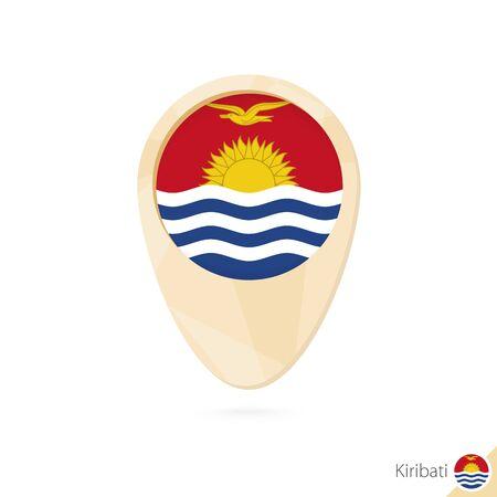 kiribati: Map pointer with flag of Kiribati. Orange abstract map icon. Vector Illustration. Illustration