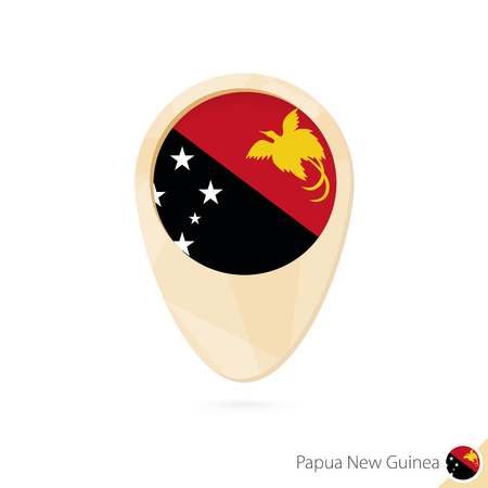 papua: Map pointer with flag of Papua New Guinea. Orange abstract map icon. Vector Illustration. Illustration