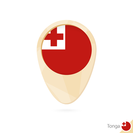 tonga: Map pointer with flag of Tonga. Orange abstract map icon. Vector Illustration.