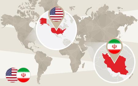 world flag: World map zoom on USA, Iran. Vector Illustration. Illustration